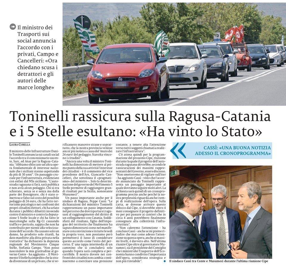 Gli articoli sulla Ragusa-Catania nelle pagine regionali e provinciali de – La Sicilia