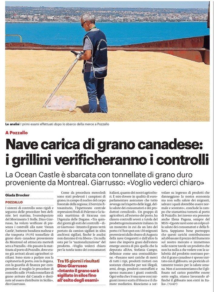Il mio intervento sul grano canadese – Giornale di Sicilia