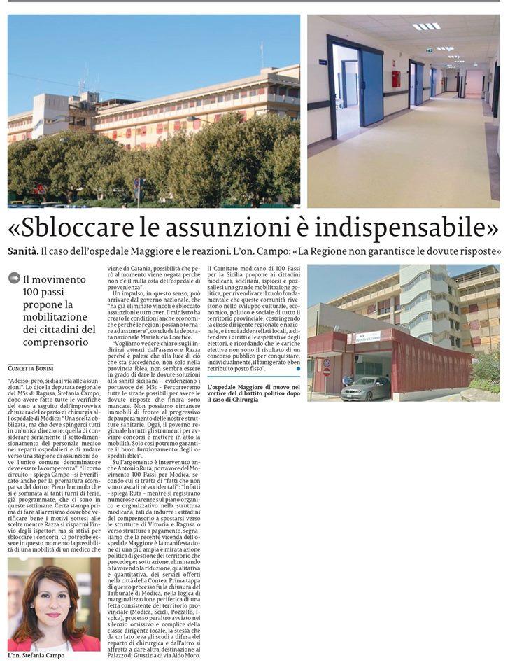 Il nostro intervento sulla chiusura del reparto di Chirurgia del Maggiore di Modica – La Sicilia