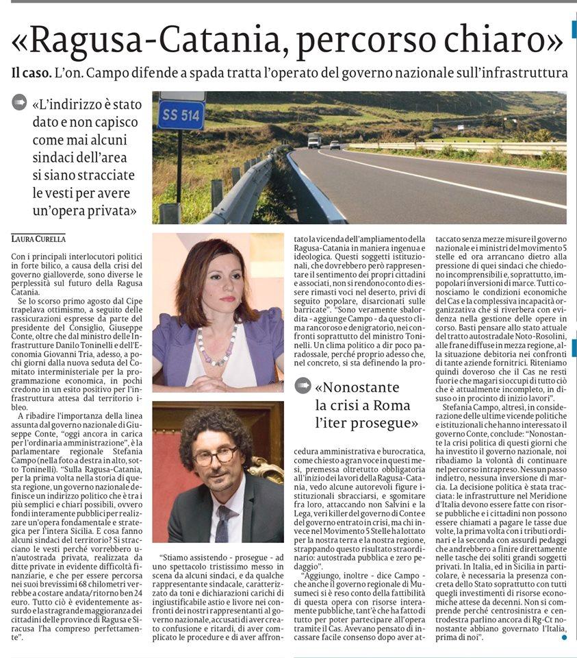 Il nostro intervento sulla Ragusa-Catania – La Sicilia