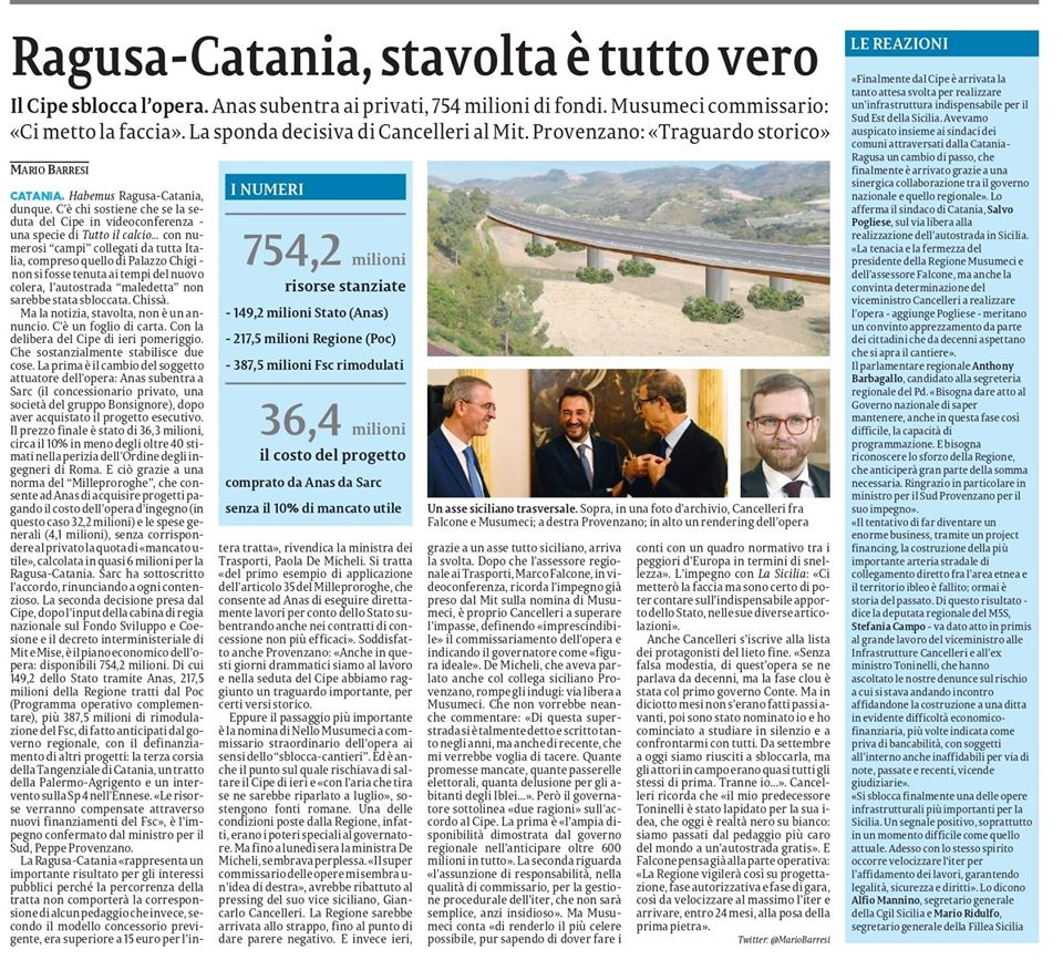 Nelle pagine regionali lo sblocco del Cipe della Ragusa-Catania – La Sicilia