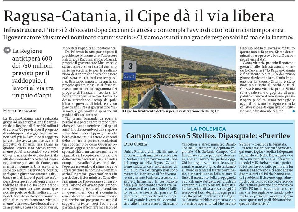 Nelle pagine provinciali il via libera definitivo del Cipe alla Ragusa-Catania.  Nel riquadro in basso trovate le mie dichiarazioni – La Siclia