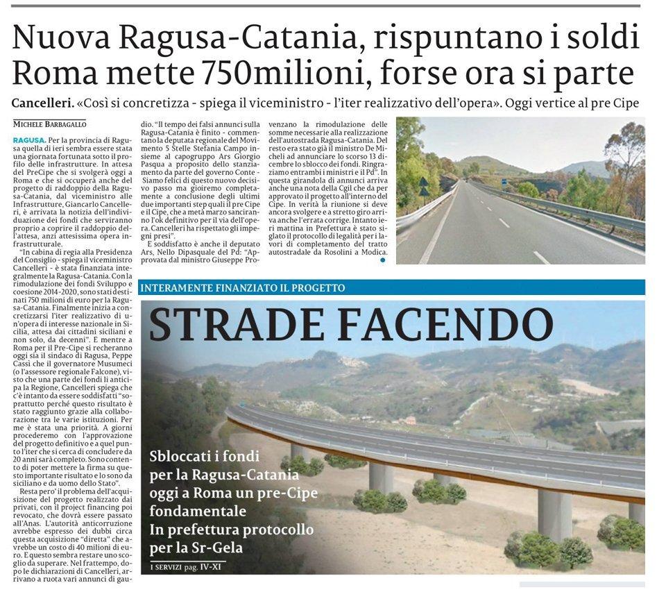 Le buone notizie sulla Ragusa-Catania con le nostre dichiarazioni nelle pagine regionali – La Sicilia