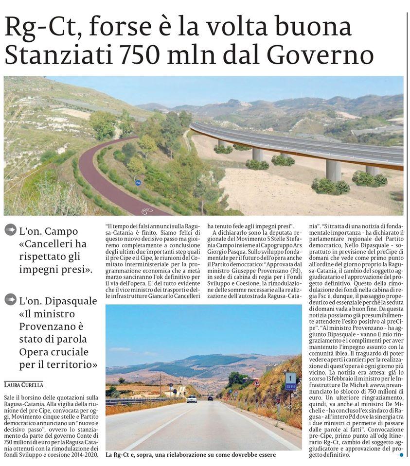 Le buone notizie sulla Ragusa-Catania con le nostre dichiarazioni nelle pagine provinciali – La Sicilia