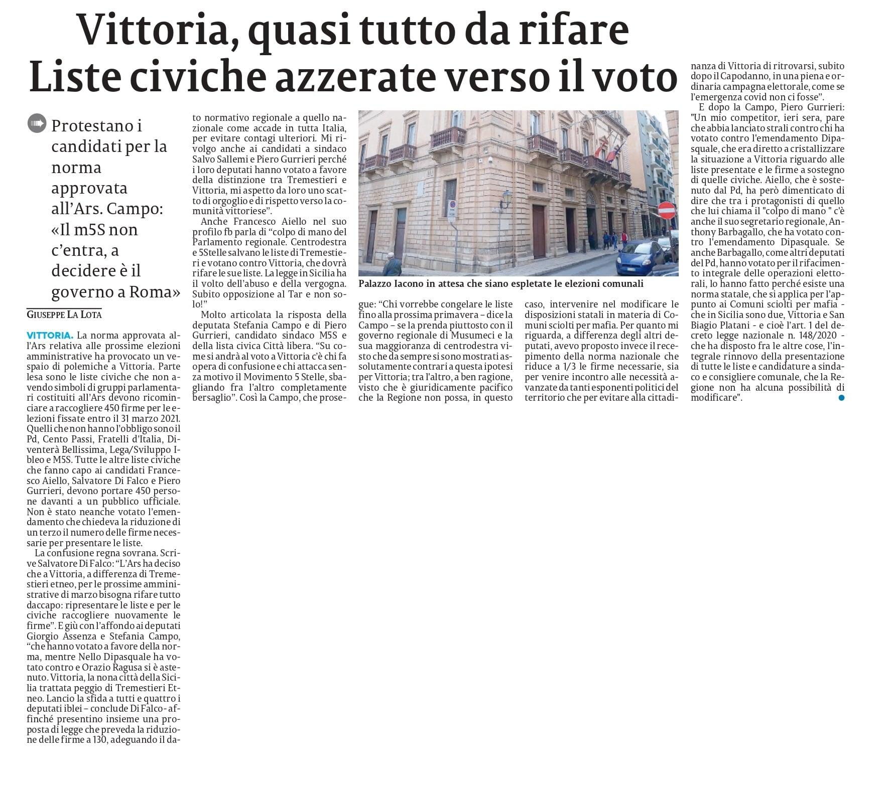 Il nostro intervento sulle elezioni di Vittoria ed in particolare sulla questione dell'azzeramento delle liste – La Sicilia