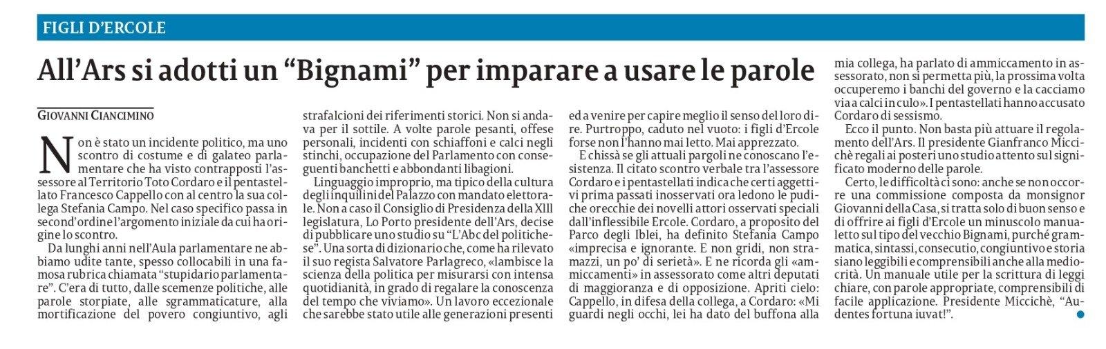 L'assessore Cordaro utilizza offese sessiste nei miei confronti come alibi per il suo immobilismo – ed. regionale La Sicilia