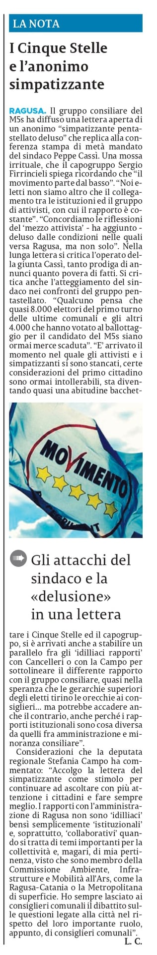 La lettera del nostro simpatizzante, che ringrazio perché non dobbiamo dimenticare che il nostro movimento parte dal basso – La Sicilia