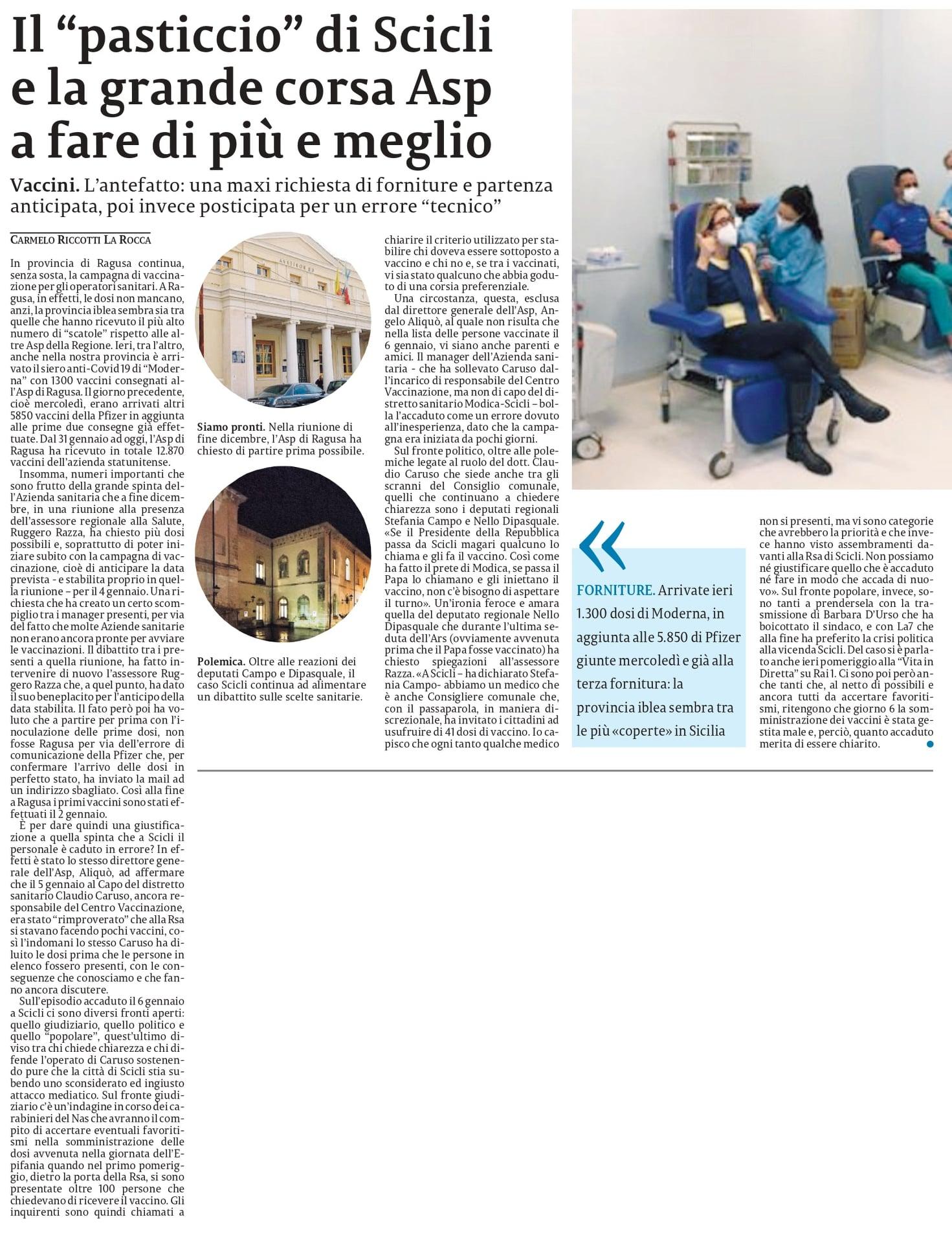 Abbiamo continuato ad occuparci della vicenda vaccini a Scicli. Il mio intervento d'Aula sull'argomento – La Sicilia